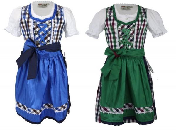 Kinderdirndl Fanny 3-tlg. Set blau oder grün