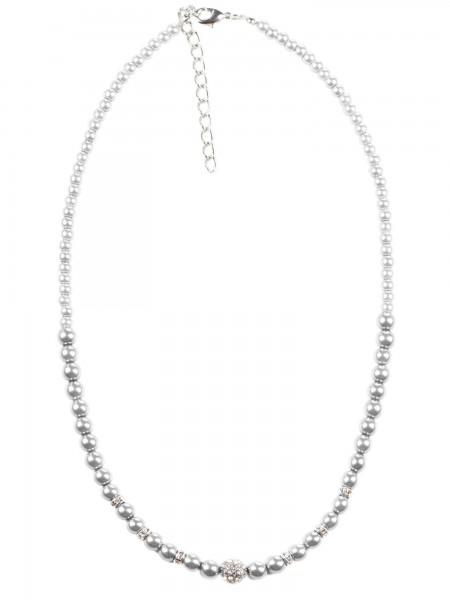 Perlenkette fein mit silbernen Einlagen