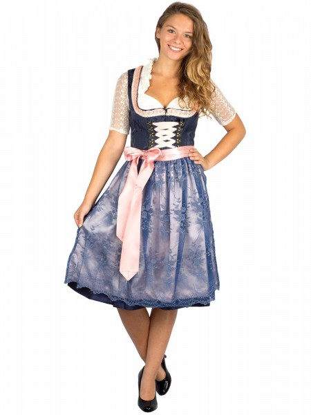 Dirndl Beauty Queen 60er Länge marine