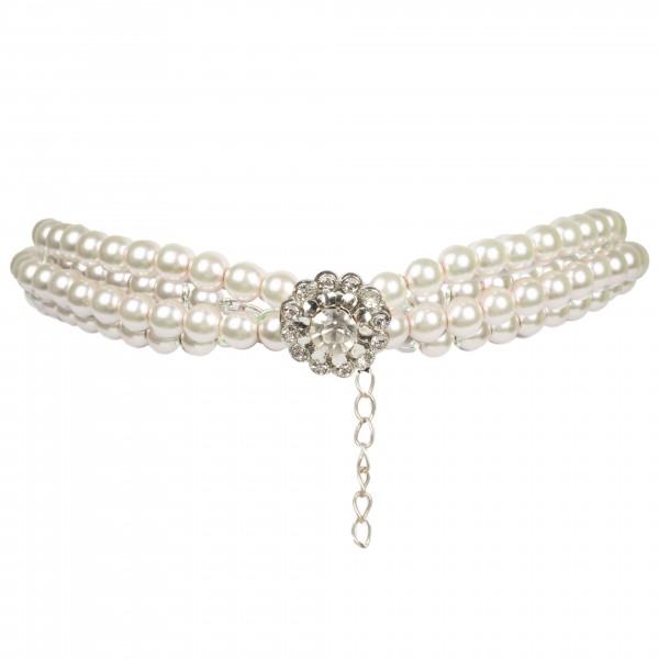 Perlenkette 2-reihig mit Strassblume
