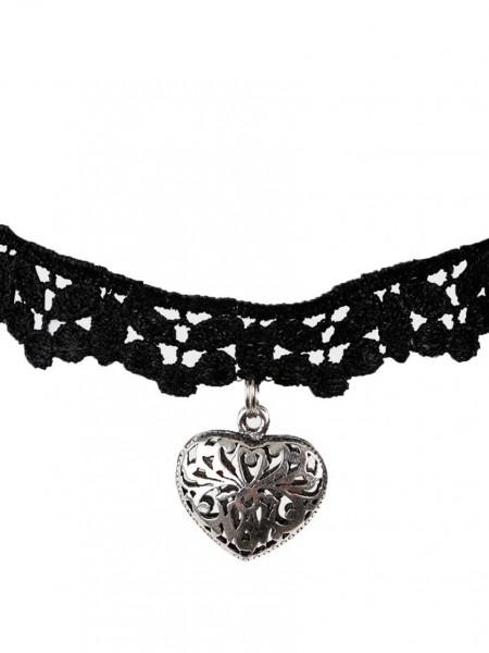 Halsband Choker Love schwarz Spitze