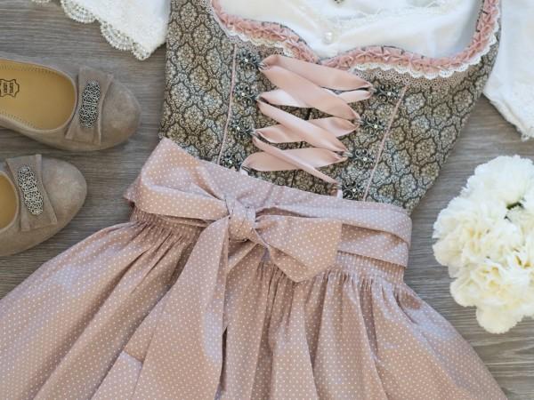 Dirndl Harmony 50er Länge braun natur rosa