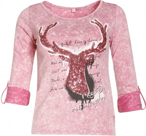 T-Shirt Hanna mit Hirschmotiv grau oder pink