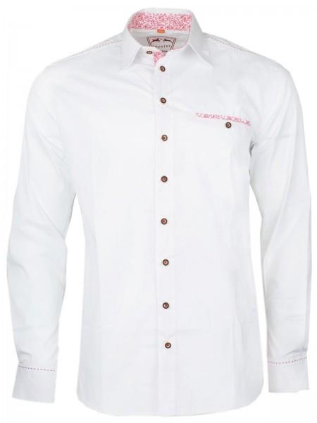 Trachtenhemd weiß Details versch Farben