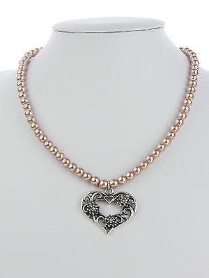 Perlenkette mocca weiß Edelweiß Herz